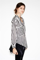 CL04 New fashion womens' OL classic beige black Striped blouse elegant quality casual loose shirt big pockets tops brand blouse