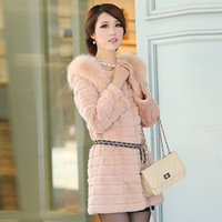 2013 large fur collar women's rabbit fur medium-long loose outerwear y100