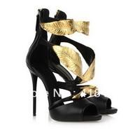 New 2014 gold leaf anke wrap high heel sandals sexy designer women dress shoe summer girl pumps