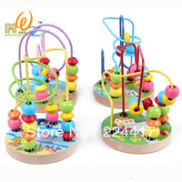 kids toy Child puzzle wooden toy mini cartoon small around the bead leuconostoc 1 - 2 - 3 baby