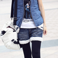 529 autumn and winter all-match denim maomao edge of the boot cut jeans shorts denim shorts