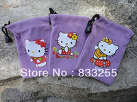 Wholesale 200pcs/lot Stretch Knits Hello Kitty Pouch Case Phone Bags for Mobile Phone MP3 MP4 Cell Phone Birthday Gift