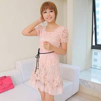 Wholesale 2014 New Fashion Bandage Runway Casual Dress Mint Maxi Lolita Women Novelty Cute Lace Dresses Peplum Party Vestidos