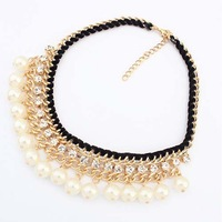 Luxury Sparkling  Rhinestone  Pearl Multi-layer Knitted  Design Necklace  2014
