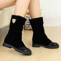 2013 autumn and winter new arrival japanned leather patchwork velvet boots elevator martin boots female shoes