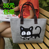 2013 spring and summer hemp handbag women's duomaomao preppy style casual canvas bag one shoulder student bag