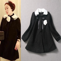 2013 fashion autumn and winter women small elegant turn-down collar flower woolen outerwear  free shipping free shipping