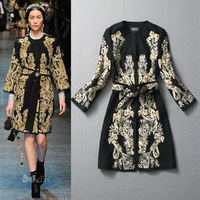 2013 autumn and winter women fashion embroidery flowers vintage gold thread woolen overcoat outerwear  free shipping