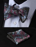 BF3022B Blue Pink Floral Classic 100%Silk Jacquard Woven Men Butterfly Bow Tie BowTie Pocket Square Handkerchief Suit Set