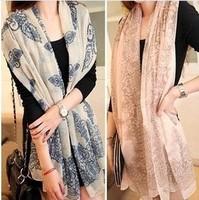 2013 New Korean Style Retro Blue And White Chiffon Scarf  Women Shawls 5 Colors Free Shipping