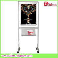 Aluminum advertising  poster stand  with wheels and acrylic holders in size 50*70cm