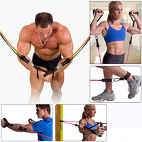 12pcs/set Natural Rubber Latex Fitness Resistance Bands Exercise Tubes Practical Elastic Training Rope Yoga Pull Rope