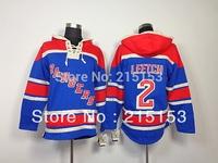 #2 Brian Leetch ICE Hockey Hoodies New Jersey NY Rangers 2 Leetch Blue  Hoody Embroid Jersey