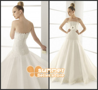 New white thick satin, Strapless, A pendulum, lace wedding dress WD-759