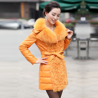 Sheepskin slim fox fur genuine leather female medium-long down coat genuine leather clothing