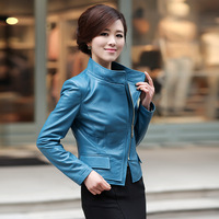 2013 spring genuine sheepskin leather clothing female short design stand collar slim leather clothing outerwear