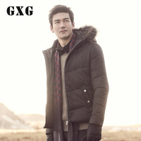 Gxg male casual gentle fur collar stripe cotton-padded jacket hat 24207070