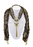 Free Shipping Women Fashion Rhinestone Tassel Cheetah Head Pendant Leopard Jewelry Scarves A0033