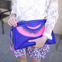 Day clutch fashion women's handbag fashion bag fanghaped 2013 tassel Large clutch female