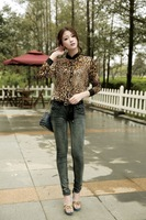 Fashion Women's Vintage Loose Stand Collar Leopard print  Circle Long Sleeve Chiffon Shirt  M and L Size