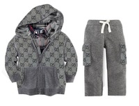 Children long sleeve  tracksuits  boy hooded sweaters + pants 2pcs set size 12-18M,18-24M, 2 3 4 5T