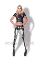 2014 New brand black milk for women's skull skeleton 3D print leggings spring autumn summer harajuku pencil pants clothing