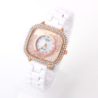 Rose Gold Ladies Quartz Watch Crystal hours Ceramic Watches analog Casual watch rhinestone inside for women dress watches