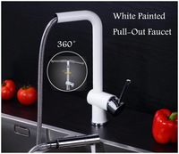 House Gift White Painted Pull-Out Kitchen Faucet Brass Made Simple Design High Quality 5Years Gurantee  Basin Mixer