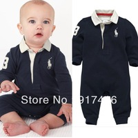 Baby romper baby One-Piece romper long sleeve polo romper baby jumpsuit boy's Handsome Lapel long-sleeved Romper