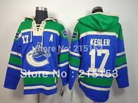 Ryan Kesler ICE Hockey Hoodies Vancouver Canucks 17 Kesler Blue Hoody Stitched Patch Hooded Jersey