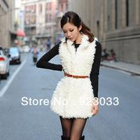 Faux Lamb Fur Wool Vest Coat Women Long New 2013 Winter Dress Jackets