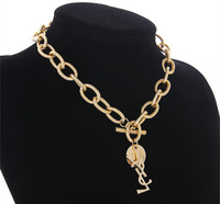 Shopping festival 2013 New Fashion Charming personality gold chained Letters words girls chokers necklace Free shipping !