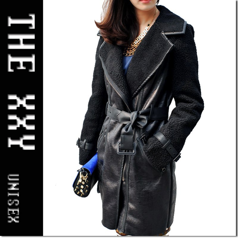 2013new winter fashion street rock leather lamb fur patchwork thick women long motrocycle leather jeacket coat free shipping(China (Mainland))