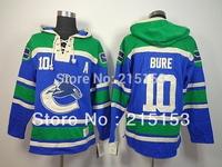 Wholesale ICE Hockey Hoodies Vancouver Canucks 10 Bure Blue Men's Hoody Embroid Canucks Jersey