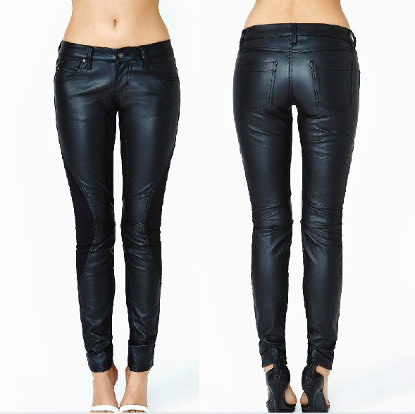 East Knitting 2014 new women jeans Black PU leather women trousers Slim stretch knit stitching Free Shipping(China (Mainland))