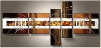 100% Hand Painted Abstract Oil Painting White on Brown Wall Art Home Decor 5pcs Set Free Shipping