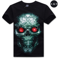Tang dynasty 100% rocktang black cotton short-sleeve T-shirt green skull