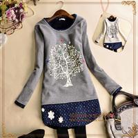 Wholesale Lady Women Fashion Black long-sleeved Printed Asymmetric Hem T-shirt Tops Tees Blouses