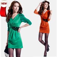 One-piece dress 2013 autumn and winter women sexy basic V-neck long-sleeve slim waist hip slim dress