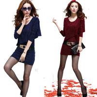 2013 plus size clothing long-sleeve dress slim fashion slim hip basic with belt