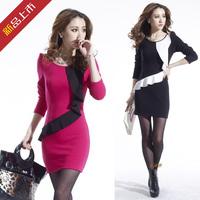2013 autumn and winter women fashion slim hip thickening long-sleeve basic skirt one-piece dress