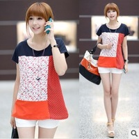 2014 Brand New Korean/Japan women's fashion sweet cotton large size t shirts top clothes ladies casual summer t-shirt M L XL
