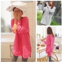 Free Shipping  2013 autumn single zipper long-sleeve dress medium-long sweatshirt d46