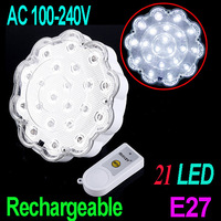 AC 100-240V Rechargeable 21 LED Emergency Lamp 3W LED bulb Lamp with Remote Control