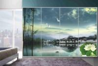 FREE SHIPPING! New Classcal Ink Glass Window Films/ Glass Stick/Bathroom Glass Sticker/Cupboard Cover 60*80cm, 4 piece a set