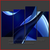 Framed 4 Panel Large Blue Swirls Cascade Abstract Oil Painting 4 Piece Canvas Art Wall Pictures XD01894