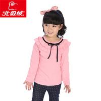Children's clothing 2013 child double layer ruffle collar princess basic shirt child female child