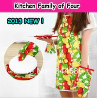 2857 Min order $10 (mix order) free shipping kitchen aprons family of four mounted waterproof glove+ towel+microwave heat pad