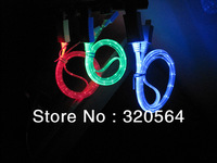 50pcs/lot,2013 Hot Selling Newest Visible LED Light USB Cable for iPhone 5 5s 5c iPod Pad Apple mp3 mini charger 4 Colors