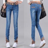 2013 autumn leopard print jeans slim pencil pants female trousers